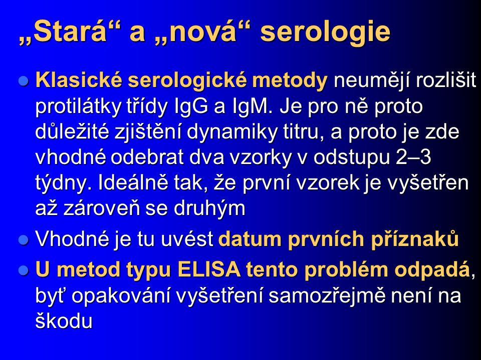 """""""Stará"""" a """"nová"""" serologie Klasické serologické metody neumějí rozlišit protilátky třídy IgG a IgM. Je pro ně proto důležité zjištění dynamiky titru,"""
