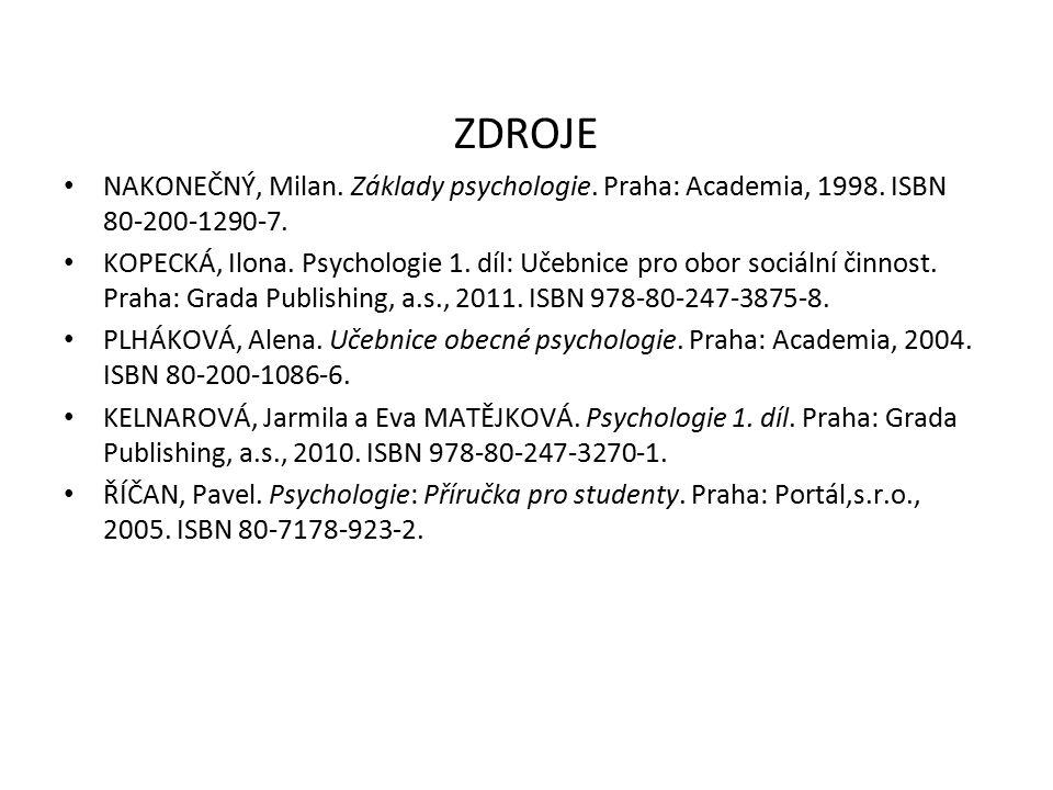 ZDROJE NAKONEČNÝ, Milan. Základy psychologie. Praha: Academia, 1998. ISBN 80-200-1290-7. KOPECKÁ, Ilona. Psychologie 1. díl: Učebnice pro obor sociáln
