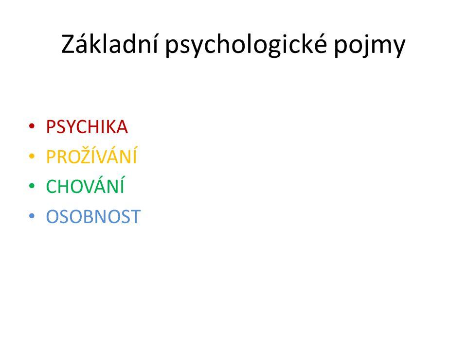 Základní psychologické pojmy PSYCHIKA PROŽÍVÁNÍ CHOVÁNÍ OSOBNOST