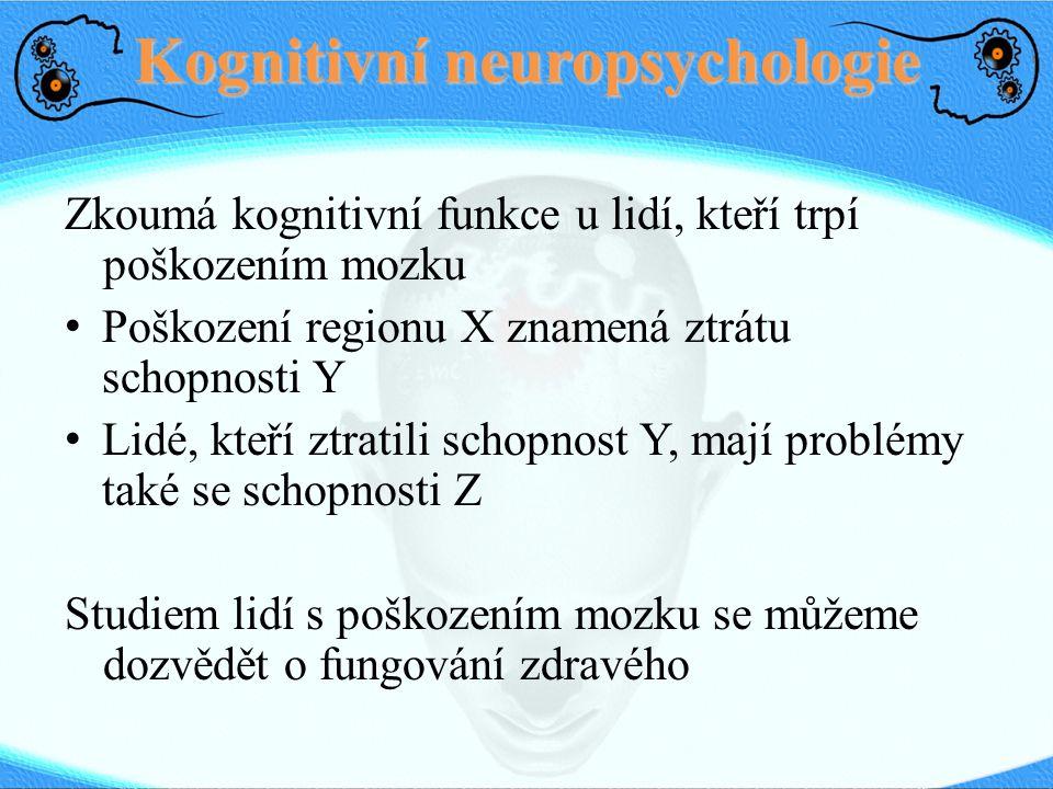 Kognitivní neuropsychologie Zkoumá kognitivní funkce u lidí, kteří trpí poškozením mozku Poškození regionu X znamená ztrátu schopnosti Y Lidé, kteří z