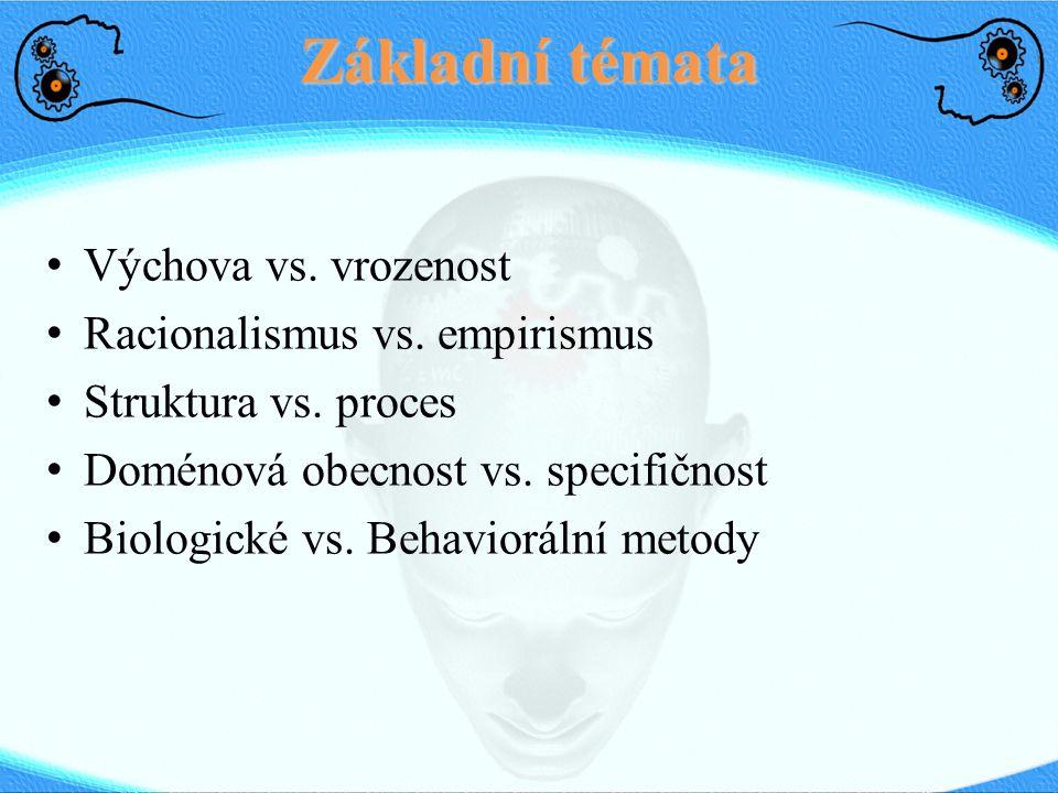 Základní témata Výchova vs. vrozenost Racionalismus vs. empirismus Struktura vs. proces Doménová obecnost vs. specifičnost Biologické vs. Behaviorální