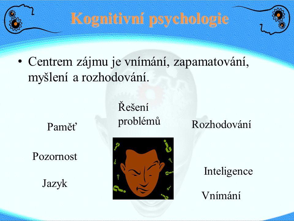 Kognitivní psychologie Centrem zájmu je vnímání, zapamatování, myšlení a rozhodování. Řešení problémů Pozornost Paměť Rozhodování Inteligence Jazyk Vn