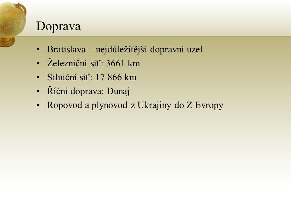 Doprava Bratislava – nejdůležitější dopravní uzel Železniční síť: 3661 km Silniční síť: 17 866 km Říční doprava: Dunaj Ropovod a plynovod z Ukrajiny d