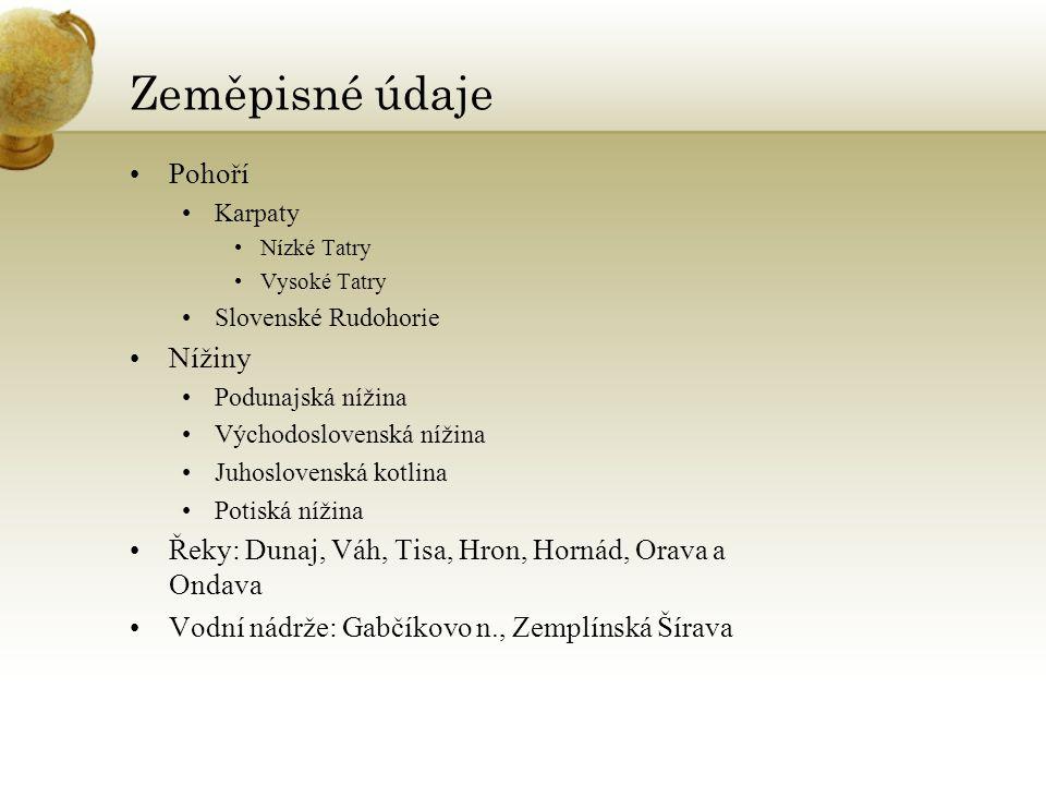 Zeměpisné údaje Pohoří Karpaty Nízké Tatry Vysoké Tatry Slovenské Rudohorie Nížiny Podunajská nížina Východoslovenská nížina Juhoslovenská kotlina Pot