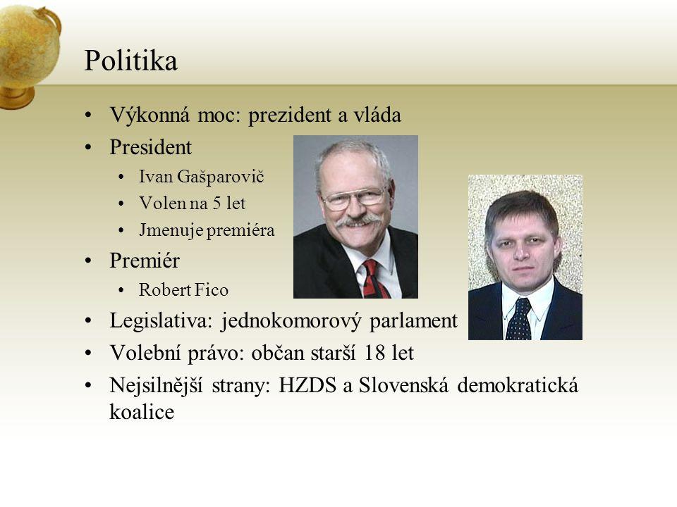 Politika Výkonná moc: prezident a vláda President Ivan Gašparovič Volen na 5 let Jmenuje premiéra Premiér Robert Fico Legislativa: jednokomorový parla