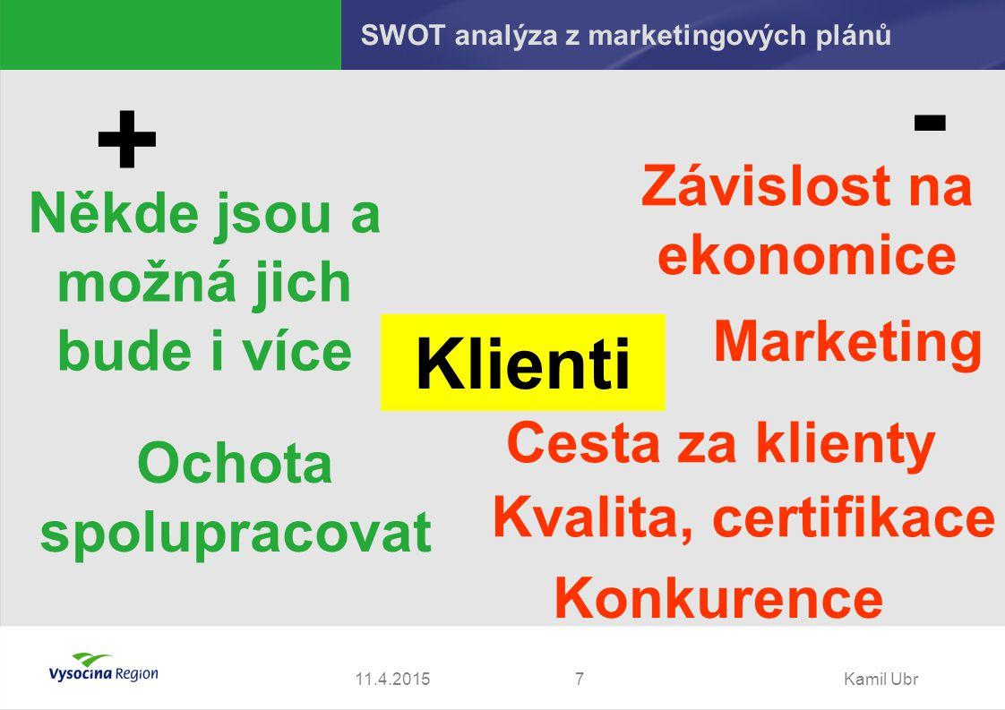 11.4.2015Kamil Ubr7 + - Klienti Někde jsou a možná jich bude i více Marketing Závislost na ekonomice Kvalita, certifikace Cesta za klienty Konkurence Ochota spolupracovat SWOT analýza z marketingových plánů