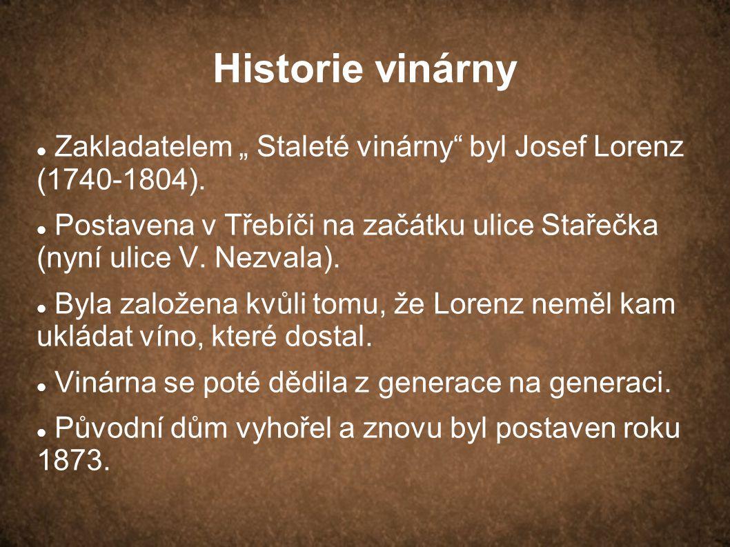 """Historie vinárny Zakladatelem """" Staleté vinárny"""" byl Josef Lorenz (1740-1804). Postavena v Třebíči na začátku ulice Stařečka (nyní ulice V. Nezvala)."""