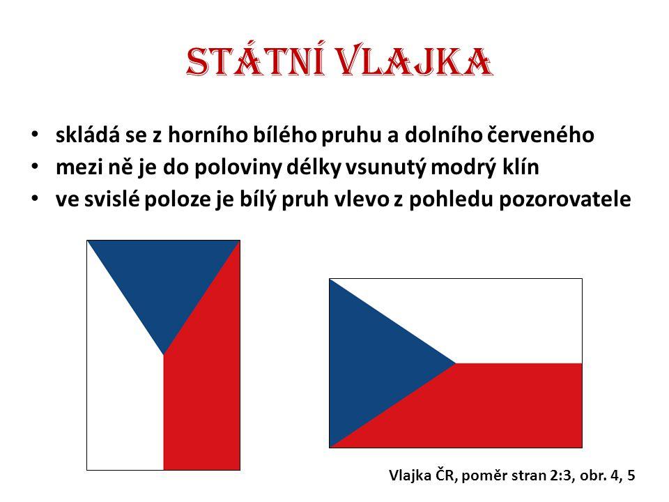 Státní vlajka skládá se z horního bílého pruhu a dolního červeného mezi ně je do poloviny délky vsunutý modrý klín ve svislé poloze je bílý pruh vlevo