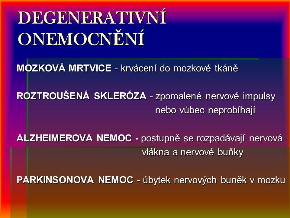 DEGENERATIVNÍ ONEMOCN Ě NÍ MOZKOVÁ MRTVICE - krvácení do mozkové tkáně ROZTROUŠENÁ SKLERÓZA - zpomalené nervové impulsy nebo vůbec neprobíhají nebo vůbec neprobíhají ALZHEIMEROVA NEMOC - postupně se rozpadávají nervová vlákna a nervové buňky vlákna a nervové buňky PARKINSONOVA NEMOC - úbytek nervových buněk v mozku