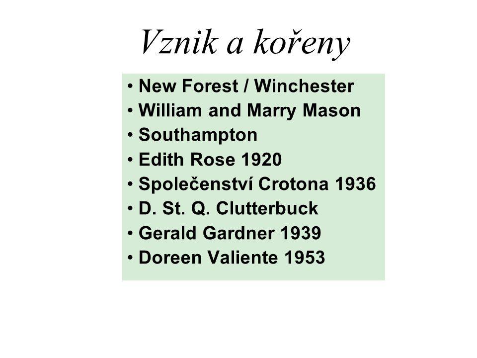 Vznik a kořeny New Forest / Winchester William and Marry Mason Southampton Edith Rose 1920 Společenství Crotona 1936 D.