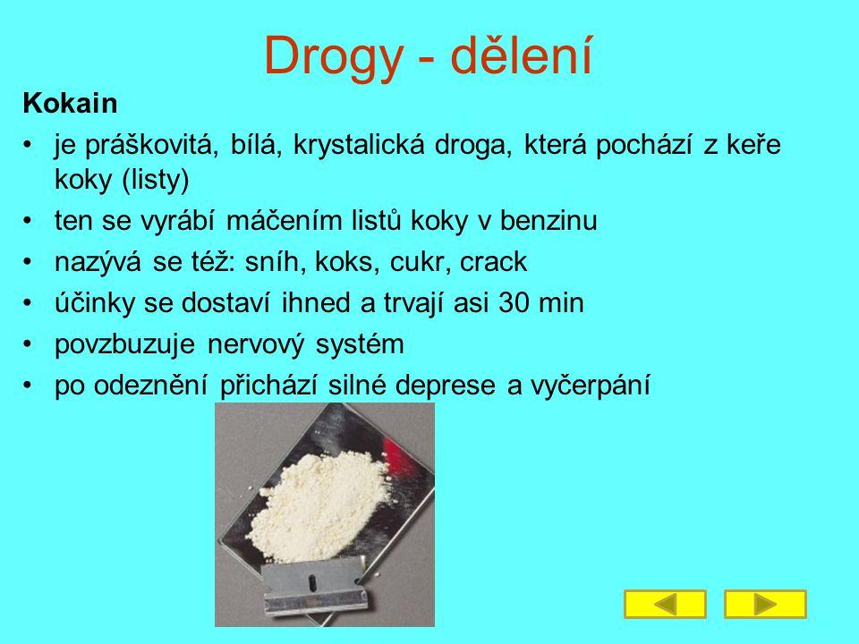 Drogy - dělení Kokain je práškovitá, bílá, krystalická droga, která pochází z keře koky (listy) ten se vyrábí máčením listů koky v benzinu nazývá se t