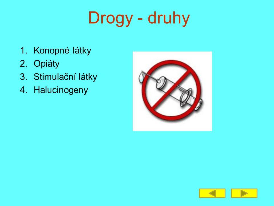 Drogy - druhy 1.Konopné látky 2.Opiáty 3.Stimulační látky 4.Halucinogeny