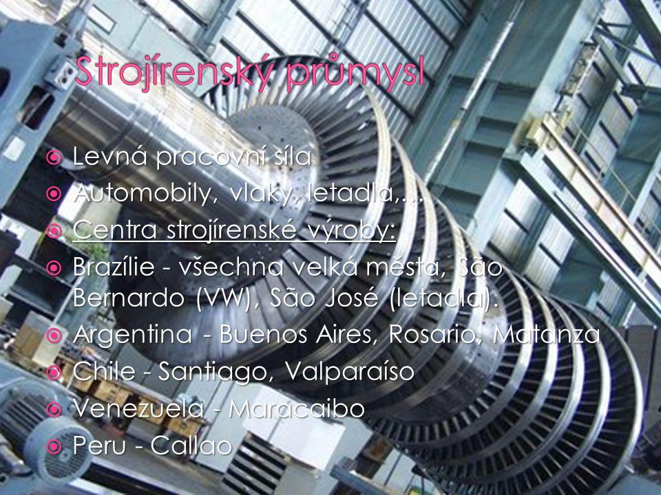  Levná pracovní síla  Automobily, vlaky, letadla,…  Centra strojírenské výroby:  Brazílie - všechna velká města, São Bernardo (VW), São José (leta