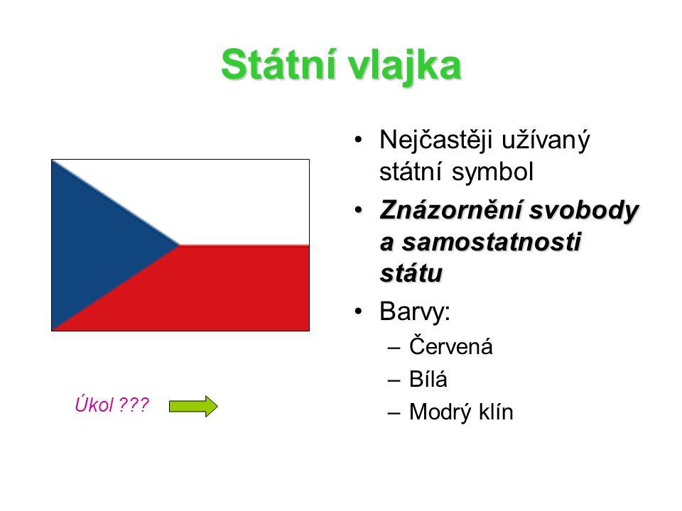 Státní vlajka Nejčastěji užívaný státní symbol Znázornění svobody a samostatnosti státuZnázornění svobody a samostatnosti státu Barvy: –Červená –Bílá –Modrý klín Úkol