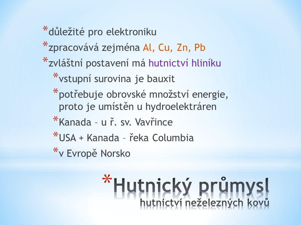 * důležité pro elektroniku * zpracovává zejména Al, Cu, Zn, Pb * zvláštní postavení má hutnictví hliníku * vstupní surovina je bauxit * potřebuje obrovské množství energie, proto je umístěn u hydroelektráren * Kanada – u ř.
