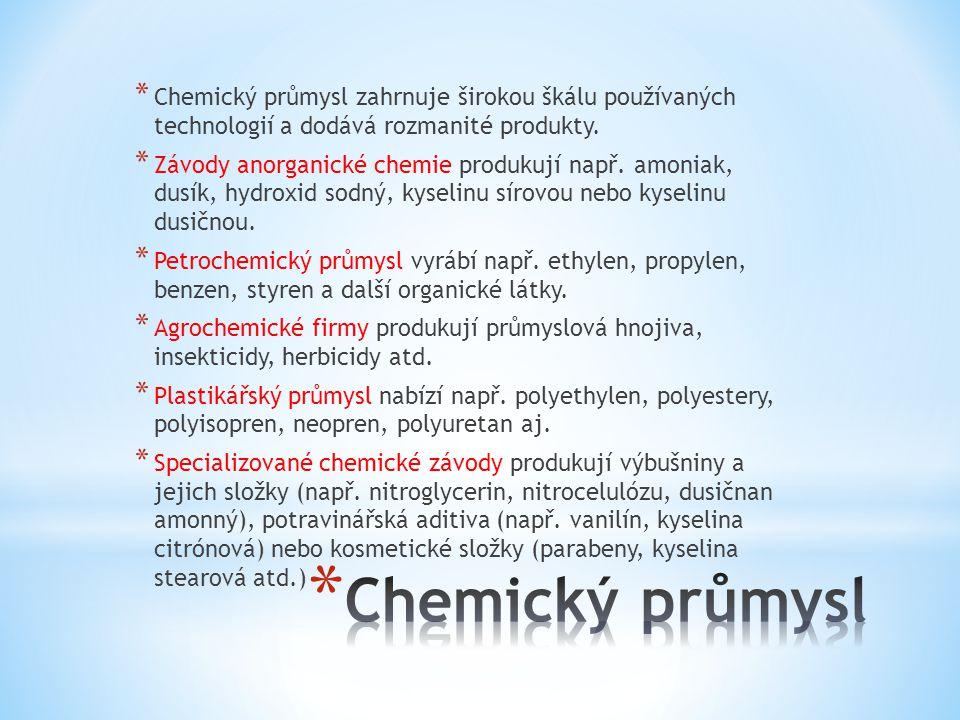 * Chemický průmysl zahrnuje širokou škálu používaných technologií a dodává rozmanité produkty.