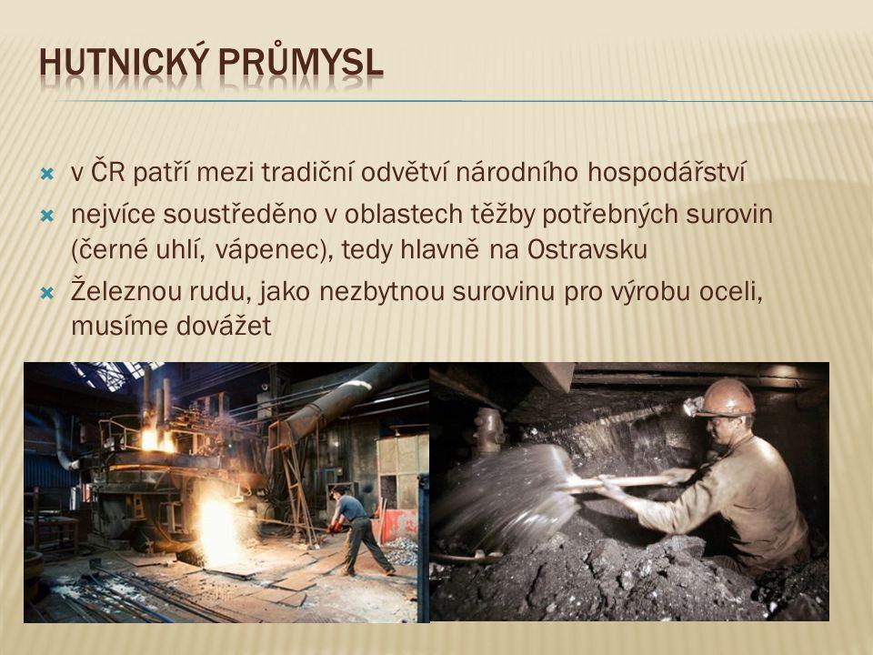  v ČR patří mezi tradiční odvětví národního hospodářství  nejvíce soustředěno v oblastech těžby potřebných surovin (černé uhlí, vápenec), tedy hlavn