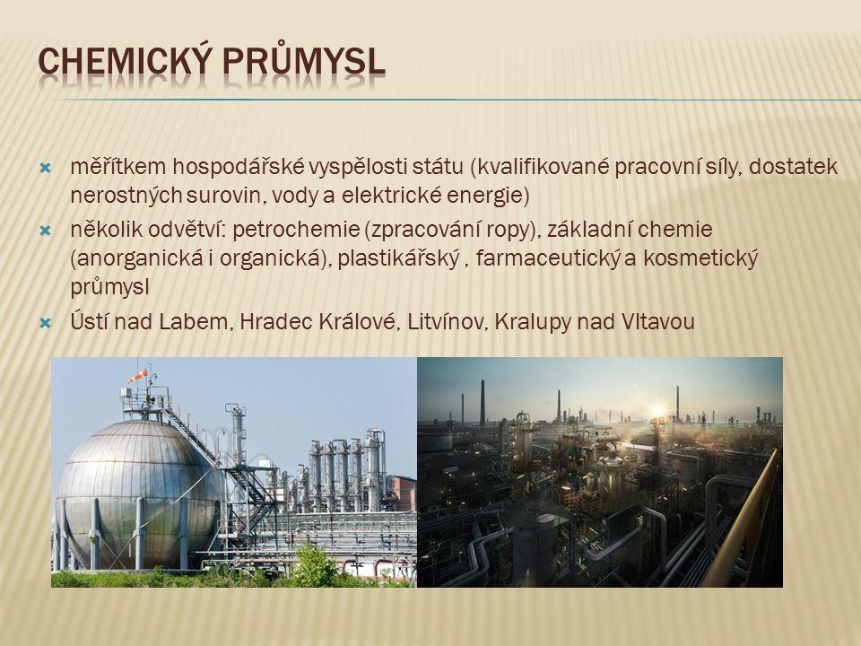  měřítkem hospodářské vyspělosti státu (kvalifikované pracovní síly, dostatek nerostných surovin, vody a elektrické energie)  několik odvětví: petro