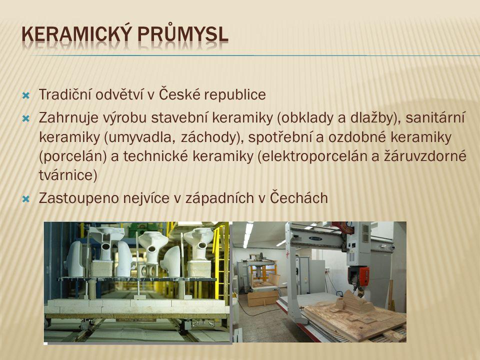  Tradiční odvětví v České republice  Zahrnuje výrobu stavební keramiky (obklady a dlažby), sanitární keramiky (umyvadla, záchody), spotřební a ozdob