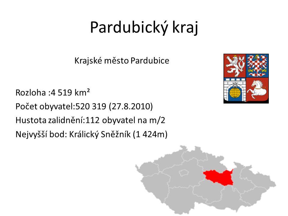 Pardubický kraj Rozloha :4 519 km² Počet obyvatel:520 319 (27.8.2010) Hustota zalidnění:112 obyvatel na m/2 Nejvyšší bod: Králický Sněžník (1 424m) Kr
