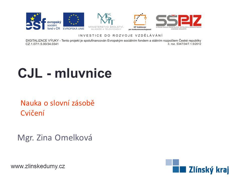 Nauka o slovní zásobě Cvičení Mgr. Zina Omelková CJL - mluvnice www.zlinskedumy.cz