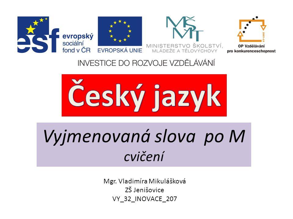 Vyjmenovaná slova po M cvičení Mgr. Vladimíra Mikulášková ZŠ Jenišovice VY_32_INOVACE_207
