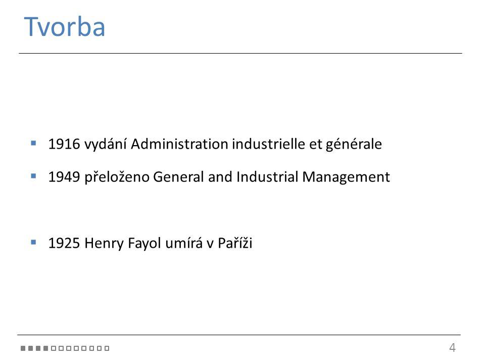 Tvorba 4  1916 vydání Administration industrielle et générale  1949 přeloženo General and Industrial Management  1925 Henry Fayol umírá v Paříži