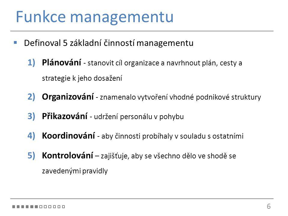 Funkce managementu  Definoval 5 základní činností managementu 1)Plánování - stanovit cíl organizace a navrhnout plán, cesty a strategie k jeho dosaže