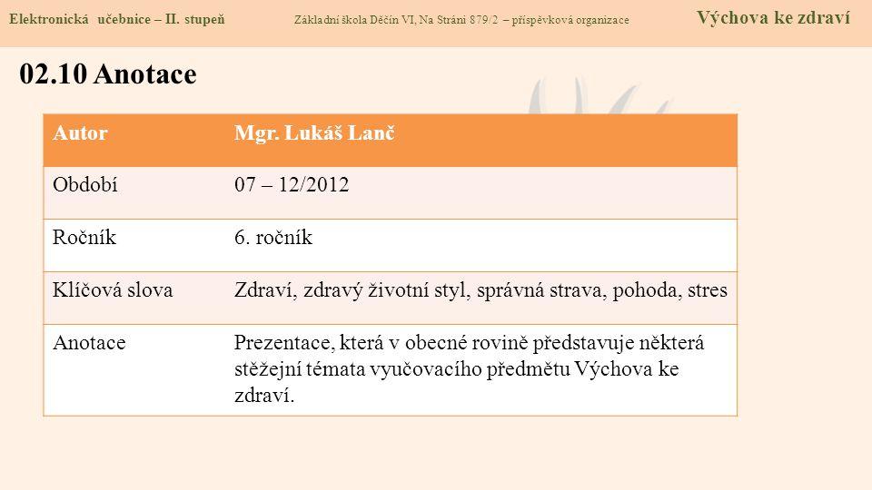 AutorMgr. Lukáš Lanč Období07 – 12/2012 Ročník6. ročník Klíčová slovaZdraví, zdravý životní styl, správná strava, pohoda, stres AnotacePrezentace, kte