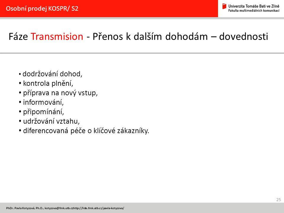 25 PhDr. Pavla Kotyzová, Ph.D., kotyzova@fmk.utb.czhttp://lide.fmk.utb.cz/pavla-kotyzova/ Fáze Transmision - Přenos k dalším dohodám – dovednosti Osob