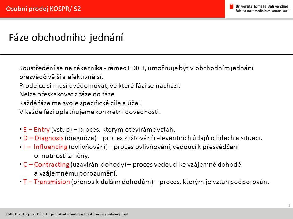 3 PhDr. Pavla Kotyzová, Ph.D., kotyzova@fmk.utb.czhttp://lide.fmk.utb.cz/pavla-kotyzova/ Fáze obchodního jednání Osobní prodej KOSPR/ S2 Soustředění s