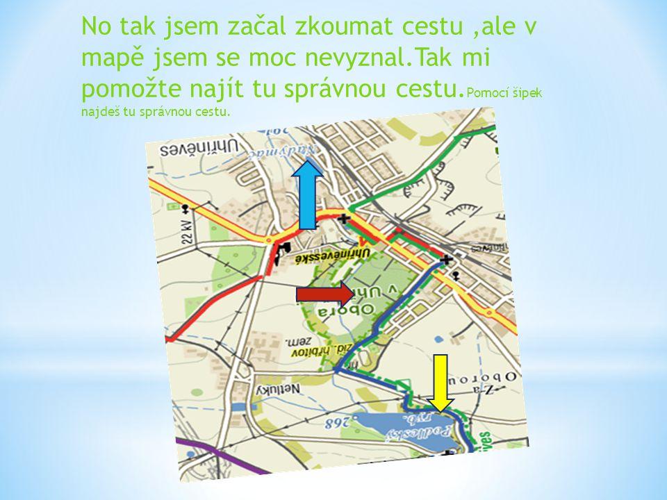 No tak jsem začal zkoumat cestu,ale v mapě jsem se moc nevyznal.Tak mi pomožte najít tu správnou cestu. Pomocí šipek najdeš tu správnou cestu.
