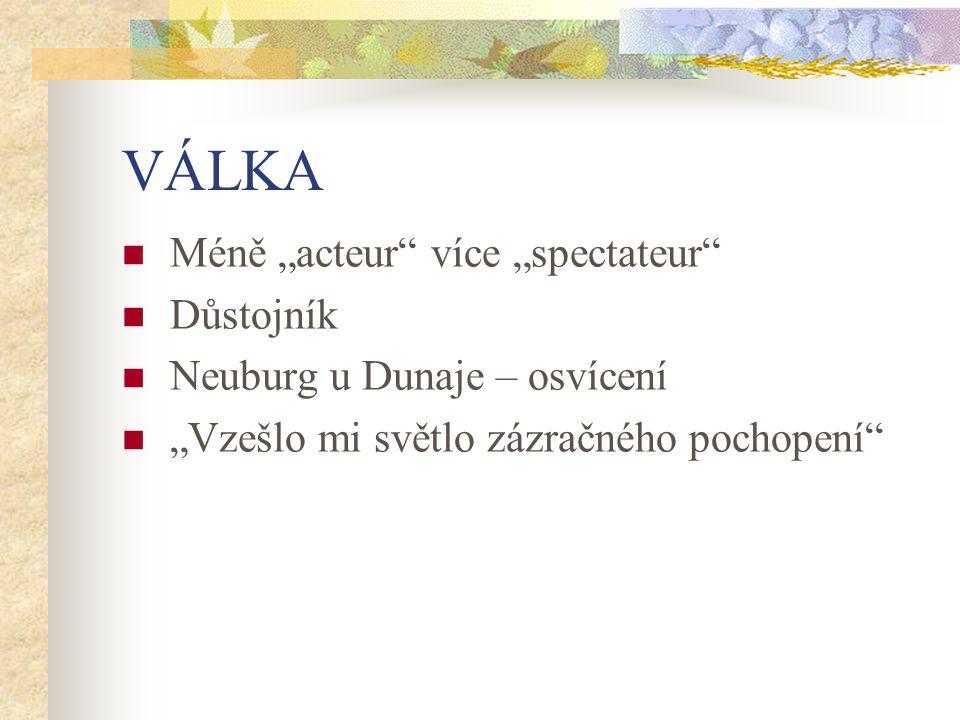 """VÁLKA Méně """"acteur"""" více """"spectateur"""" Důstojník Neuburg u Dunaje – osvícení """"Vzešlo mi světlo zázračného pochopení"""""""