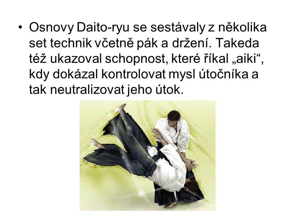 """Osnovy Daito-ryu se sestávaly z několika set technik včetně pák a držení. Takeda též ukazoval schopnost, které říkal """"aiki"""", kdy dokázal kontrolovat m"""