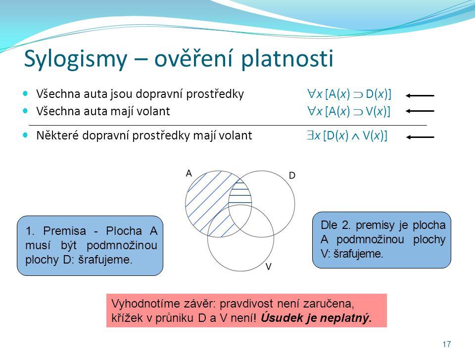 Sylogismy – ověření platnosti Všechna auta jsou dopravní prostředky  x [A(x)  D(x)] Všechna auta mají volant  x [A(x)  V(x)] Některé dopravní pros