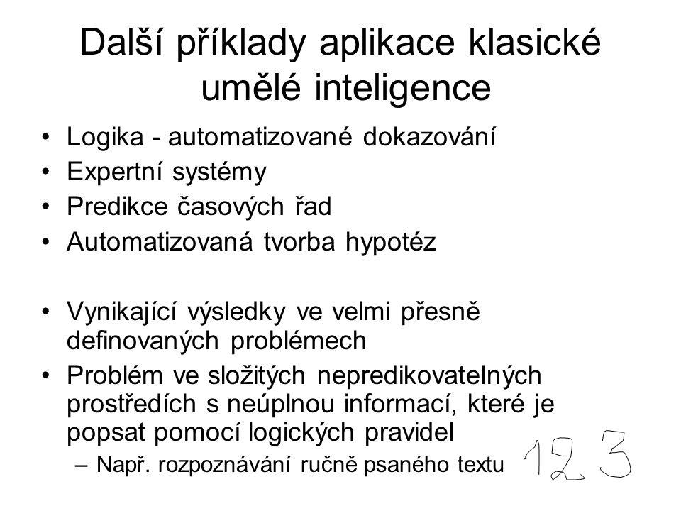 Další příklady aplikace klasické umělé inteligence Logika - automatizované dokazování Expertní systémy Predikce časových řad Automatizovaná tvorba hyp