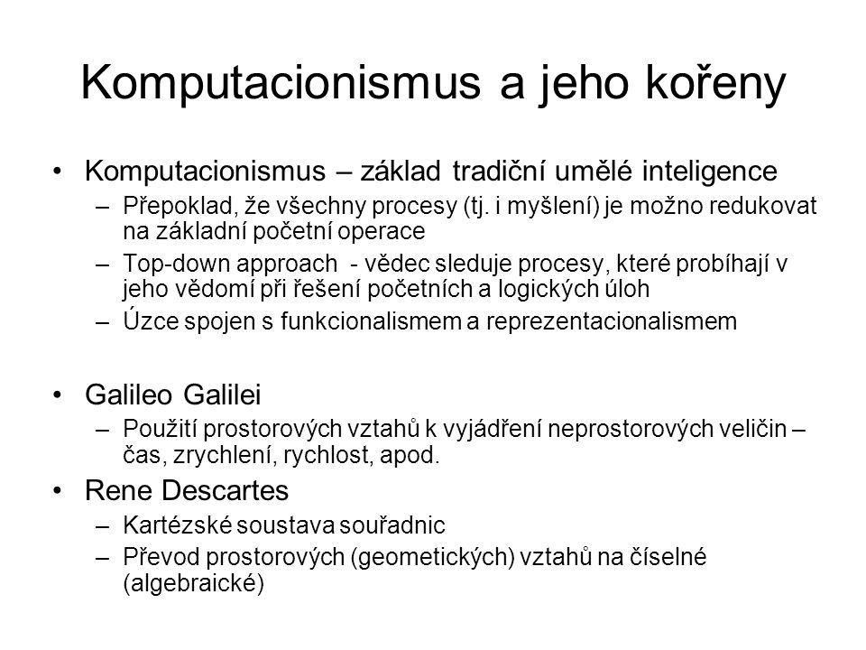 Komputacionismus a jeho kořeny Komputacionismus – základ tradiční umělé inteligence –Přepoklad, že všechny procesy (tj. i myšlení) je možno redukovat