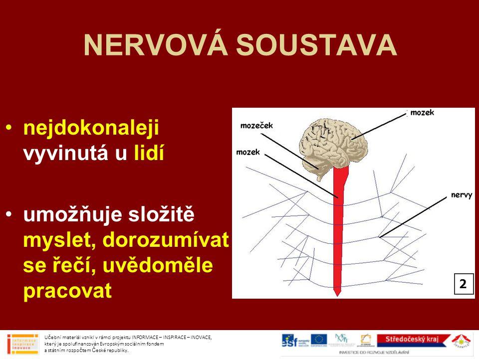 MOZEK v mozkové části lebky s míchou řídí činnost celého organismu Učební materiál vznikl v rámci projektu INFORMACE – INSPIRACE – INOVACE, který je spolufinancován Evropským sociálním fondem a státním rozpočtem České republiky.