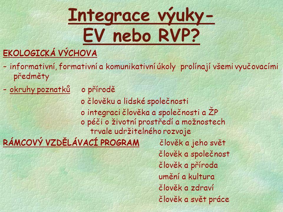 Integrace výuky- EV nebo RVP? EKOLOGICKÁ VÝCHOVA - informativní, formativní a komunikativní úkoly prolínají všemi vyučovacími předměty - okruhy poznat