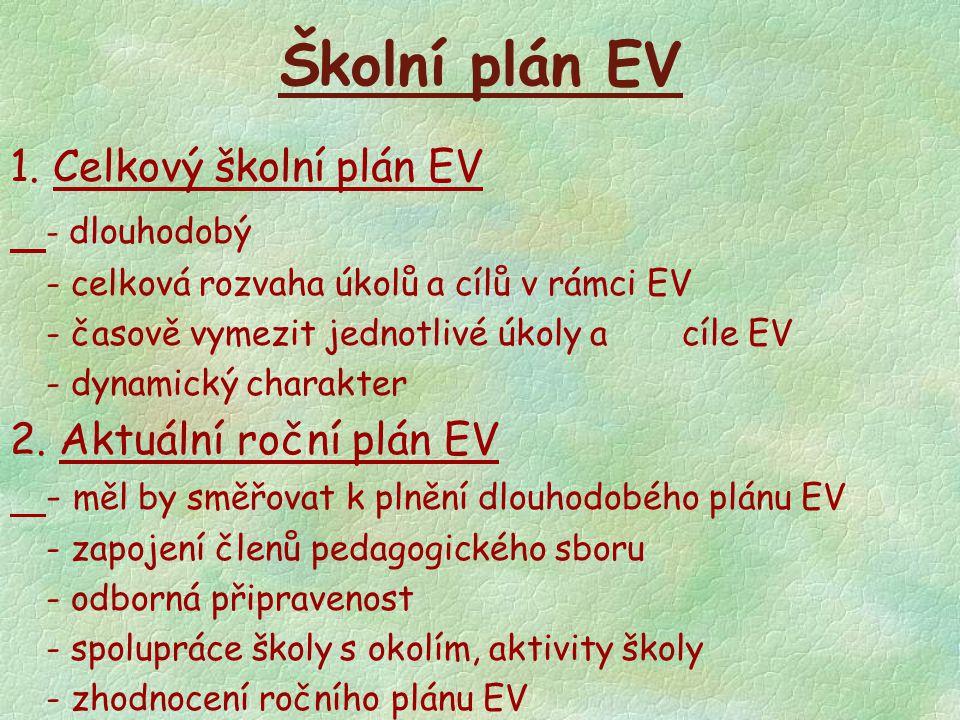 Školní plán EV 1. Celkový školní plán EV - dlouhodobý - celková rozvaha úkolů a cílů v rámci EV - časově vymezit jednotlivé úkoly a cíle EV - dynamick