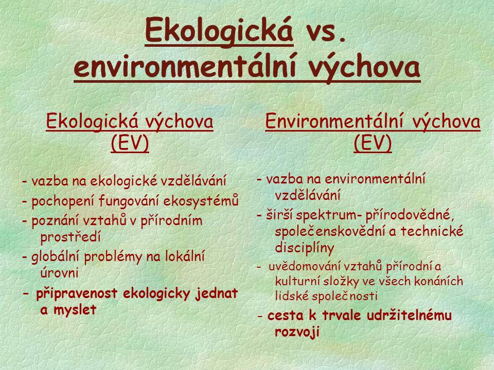 Ekologická vs. environmentální výchova Ekologická výchova (EV) - vazba na ekologické vzdělávání - pochopení fungování ekosystémů - poznání vztahů v př