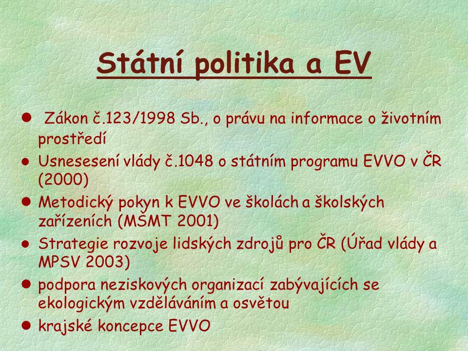 Státní politika a EV l Zákon č.123/1998 Sb., o právu na informace o životním prostředí l Usnesesení vlády č.1048 o státním programu EVVO v ČR (2000) l
