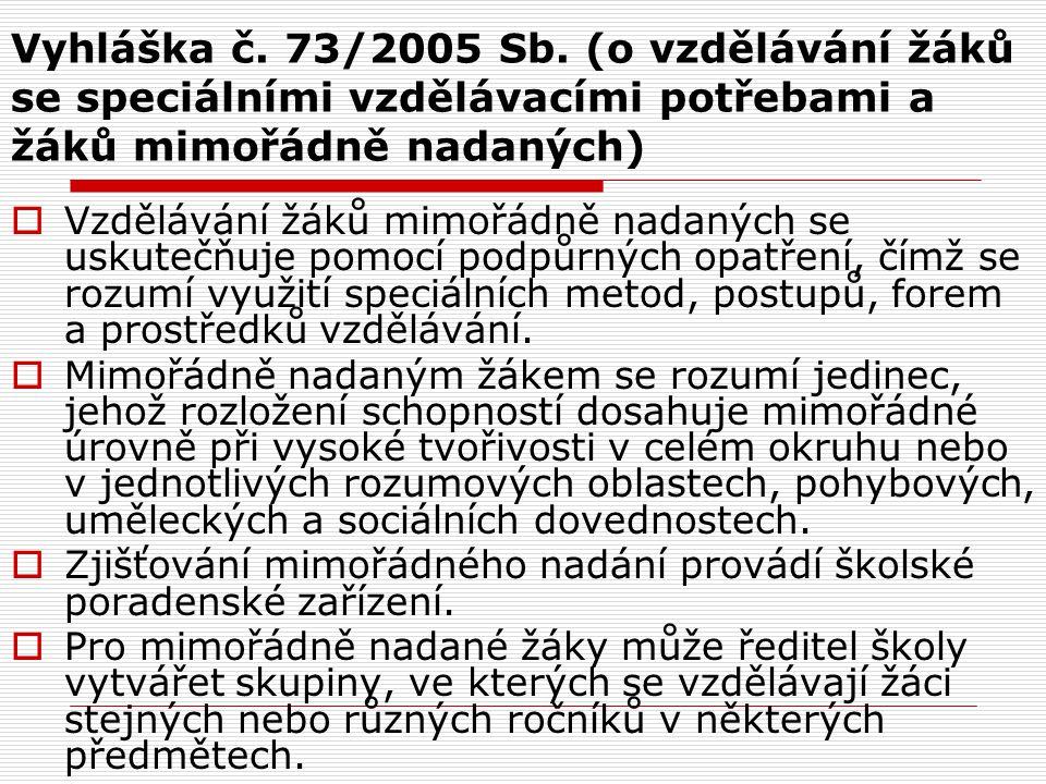 Vyhláška č. 73/2005 Sb. (o vzdělávání žáků se speciálními vzdělávacími potřebami a žáků mimořádně nadaných)  Vzdělávání žáků mimořádně nadaných se us