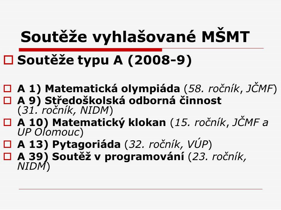 Soutěže vyhlašované MŠMT  Soutěže typu A (2008-9)  A 1) Matematická olympiáda (58. ročník, JČMF)  A 9) Středoškolská odborná činnost (31. ročník, N