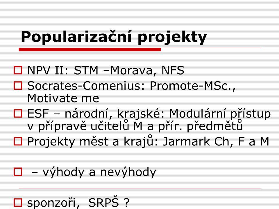 Popularizační projekty  NPV II: STM –Morava, NFS  Socrates-Comenius: Promote-MSc., Motivate me  ESF – národní, krajské: Modulární přístup v příprav