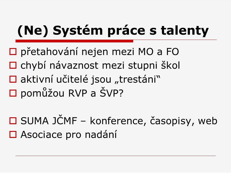 """(Ne) Systém práce s talenty  přetahování nejen mezi MO a FO  chybí návaznost mezi stupni škol  aktivní učitelé jsou """"trestáni""""  pomůžou RVP a ŠVP?"""