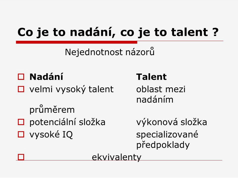 Co je to nadání, co je to talent ? Nejednotnost názorů  NadáníTalent  velmi vysoký talentoblast mezi nadáním průměrem  potenciální složkavýkonová s