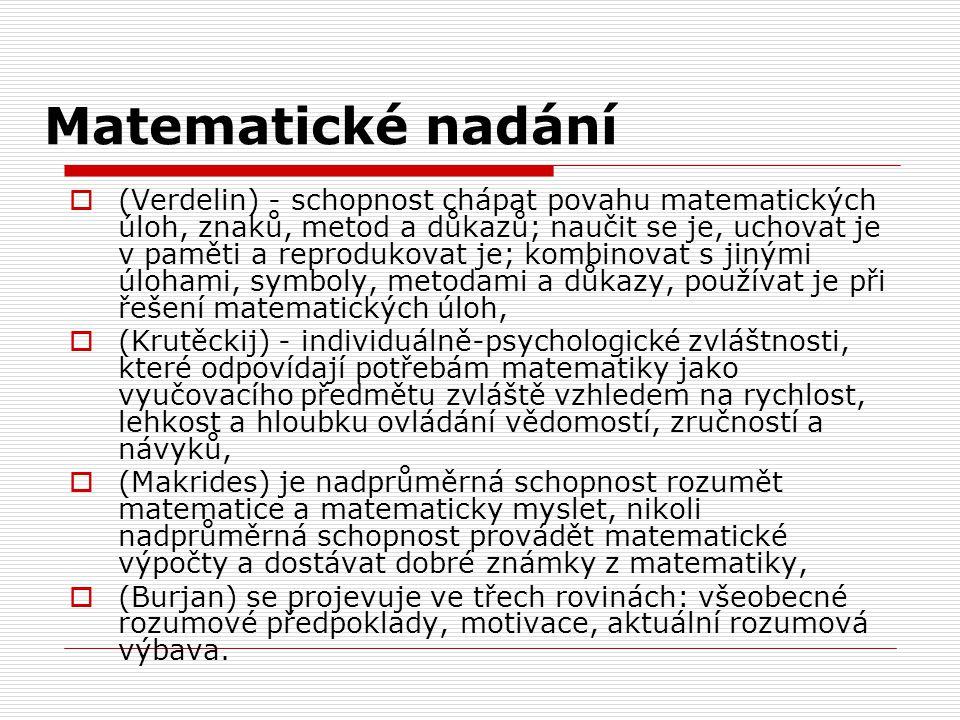 Matematické nadání  (Verdelin) - schopnost chápat povahu matematických úloh, znaků, metod a důkazů; naučit se je, uchovat je v paměti a reprodukovat je; kombinovat s jinými úlohami, symboly, metodami a důkazy, používat je při řešení matematických úloh,  (Krutěckij) - individuálně-psychologické zvláštnosti, které odpovídají potřebám matematiky jako vyučovacího předmětu zvláště vzhledem na rychlost, lehkost a hloubku ovládání vědomostí, zručností a návyků,  (Makrides) je nadprůměrná schopnost rozumět matematice a matematicky myslet, nikoli nadprůměrná schopnost provádět matematické výpočty a dostávat dobré známky z matematiky,  (Burjan) se projevuje ve třech rovinách: všeobecné rozumové předpoklady, motivace, aktuální rozumová výbava.