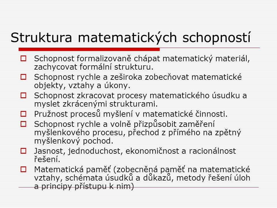 Struktura matematických schopností  Schopnost formalizovaně chápat matematický materiál, zachycovat formální strukturu.