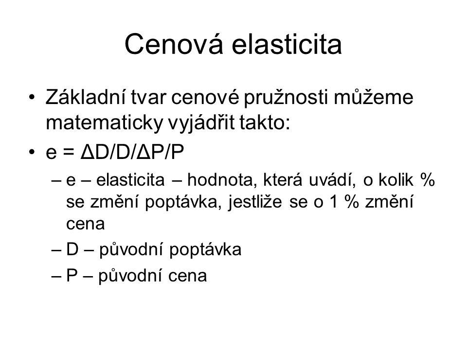 Cenová elasticita Základní tvar cenové pružnosti můžeme matematicky vyjádřit takto: e = ΔD/D/ΔP/P –e – elasticita – hodnota, která uvádí, o kolik % se